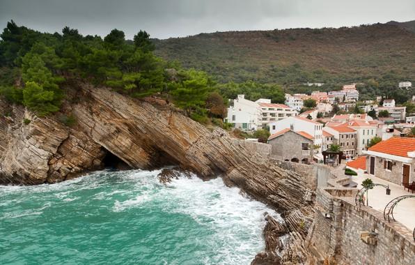 Picture sea, trees, rocks, shore, home, Montenegro, Petrovac na Moru, Petrovac