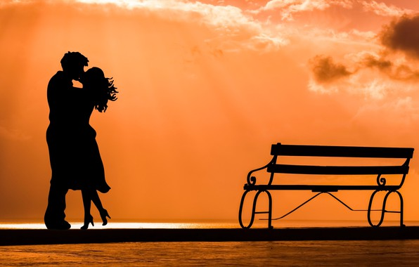 Picture love, joy, meeting, kiss, silhouette, pair, date, bench