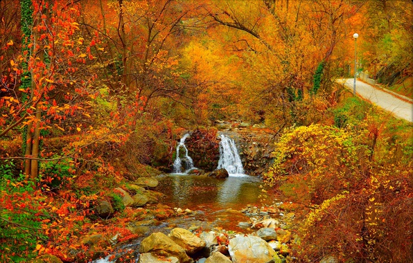 Picture Stream, Waterfall, Autumn, Stones, Fall, Foliage, River, Track, Autumn, Waterfall, Colors, Leaves, Path