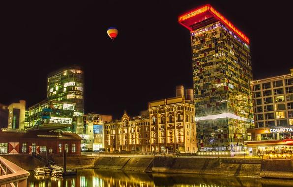 Picture the sky, night, lights, balloon, building, home, Germany, pier, channel, boats, Dusseldorf, balloon, Düsseldorf