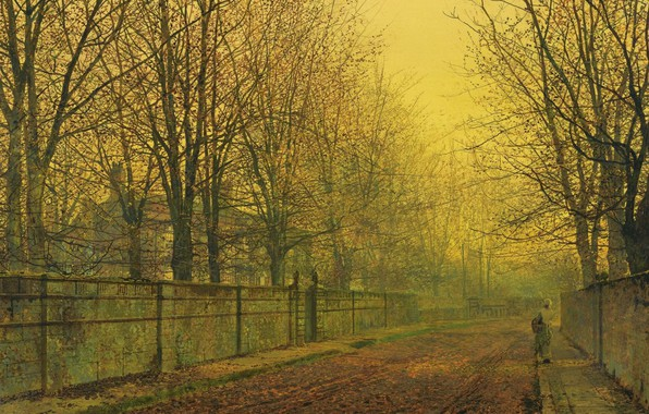Picture trees, landscape, street, the fence, home, picture, John Atkinson Grimshaw, John Atkinson Grimshaw, The Golden …