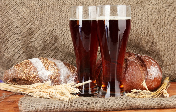 Picture spikelets, bread, glasses, drink, brew