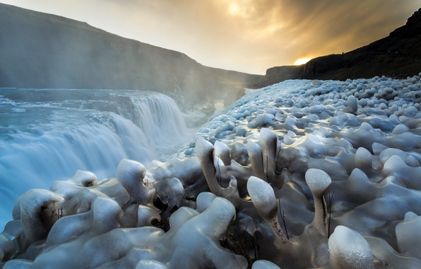 Picture river, waterfall, ice