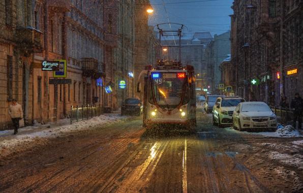 Picture snow, street, Saint Petersburg, tram