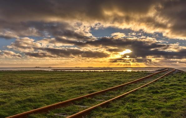 Photo wallpaper railroad, field, morning
