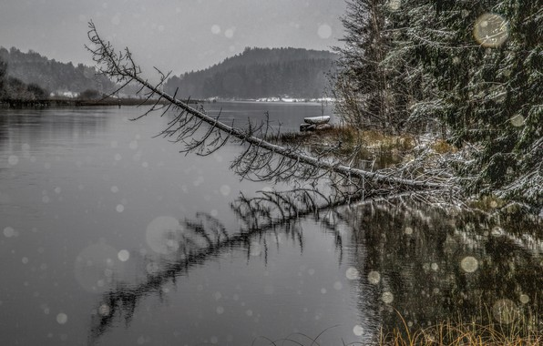 Picture river, Finland, winter is coming, November