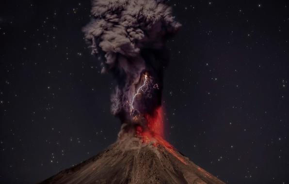 Picture nature, zipper, smoke, the volcano, the eruption, lava