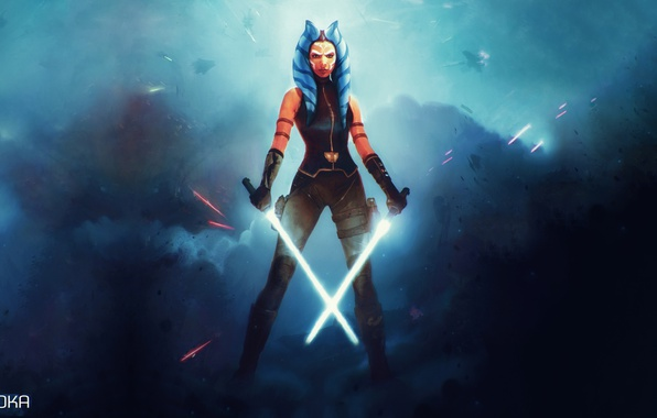 Photo Wallpaper Ahsoka Tano Lightsaber Fiction Star Wars Jedi