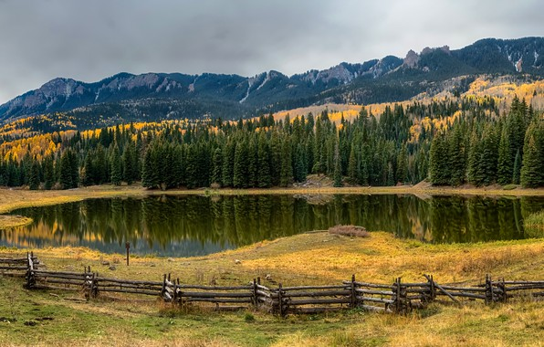 Picture autumn, forest, grass, trees, mountains, lake, rocks, the fence, panorama, USA, fence, Colorado
