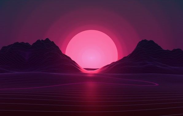 Picture The sun, Mountains, Music, Stars, Neon, Star, Hills, Background, Electronic, Synthpop, Darkwave, Synth, Retrowave, Synth-pop, …