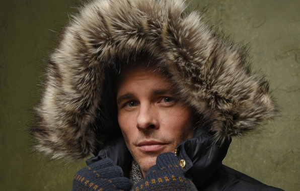 Picture look, close-up, face, portrait, jacket, hood, actor, gloves, fur, photoshoot, James Marsden, James Marsden, for …