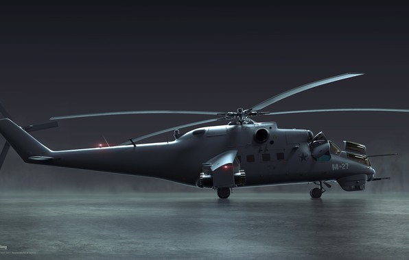 Picture helicopter, side view, Mil mi24