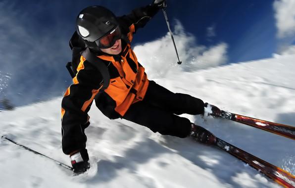 Picture winter, snow, ski, stick, speed, glasses, costume, gloves, helmet, backpack, skier, skiing
