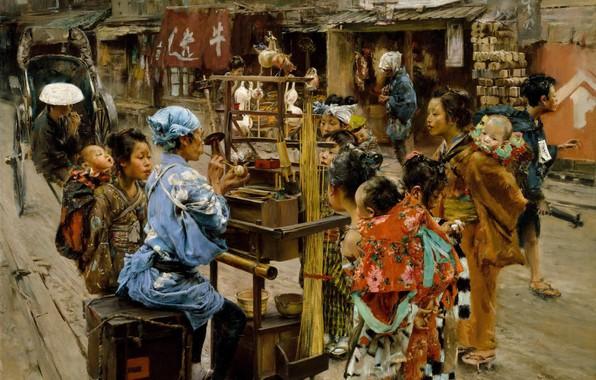 Picture people, street, Japan, picture, Robert Frederick Blum, Ameya