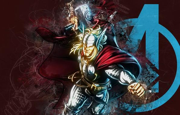 Picture fantasy, Marvel, comics, digital art, Thor, artwork, superhero, fantasy art, Avengers, hammer, pearls, cape, boulinosaure