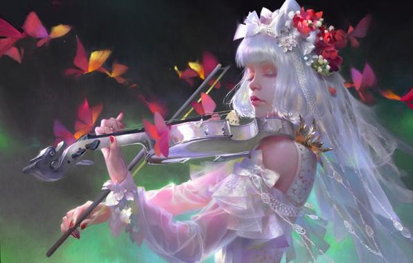 Picture girl, music, violin, white dress, lace