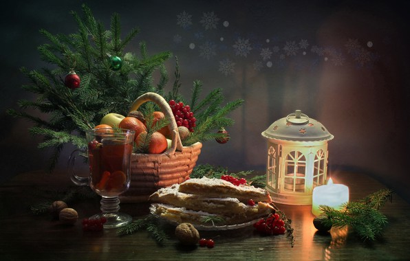 Picture winter, happiness, tea, tree, new year, Christmas, candle, still life, tangerines, January, lemon pie