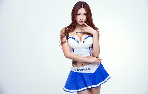Wallpaper Girl, Sexy, Model, Beauty, Gigabyte, Brunette, Top, Asian, Posing, Skirt -3196