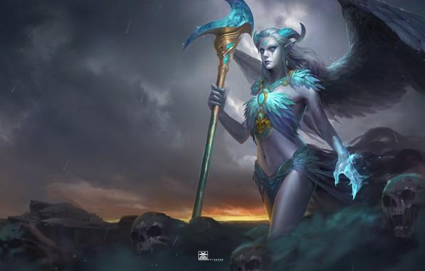 Picture look, magic, skull, art, horns, fantasy, demoness