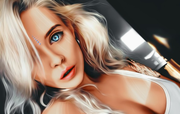 Picture Girl, cleavage, art, blue eyes, tattoo, lips, face, painting, sensual, blonde, digital art, artwork, portrait, …