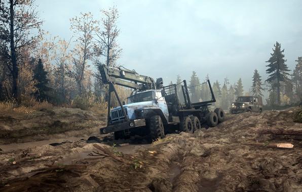 Picture dirt, puddles, UAZ, URAL, Siberia, Spintires, MudRunner