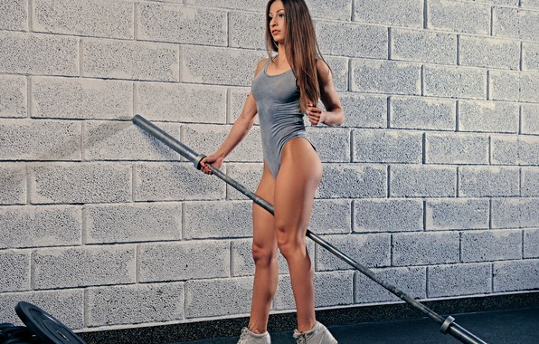 Picture wall, legs, pose, female, fitness, weight bar