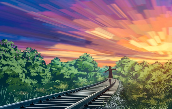 Picture the sky, girl, nature, rails, liwei191