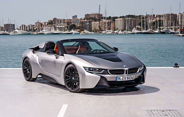 Picture the sky, the city, grey, shore, BMW, Parking, Roadster, pond, hybrid, 2018, i8, i8 Roadster