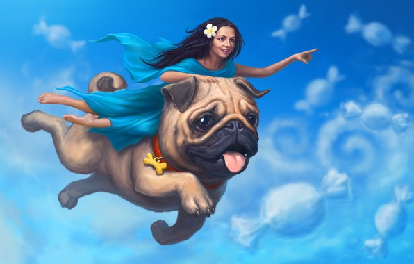 Picture the sky, girl, clouds, sleep, dog, pug, art