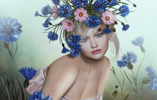 Picture girl, flowers, blonde, wreath