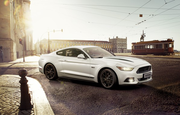 Picture city, Mustang, Ford, Car, White, Sportcar