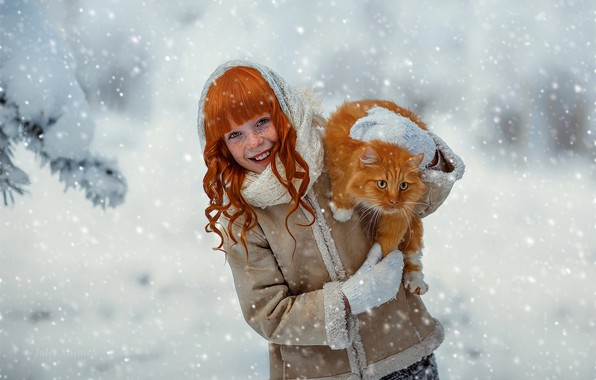 Picture winter, cat, cat, snow, laughter, girl, red, child, curls, Julia Voinich