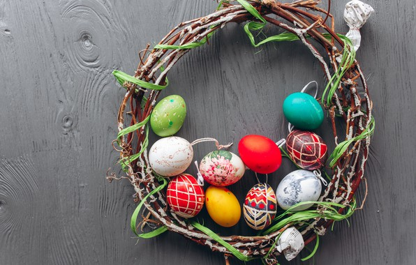 Picture branches, eggs, spring, colorful, Easter, wreath, wood, spring, Easter, eggs, decoration, Happy