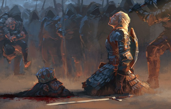 Picture girl, sword, blood, fantasy, soldiers, armor, weapon, Warrior, crown, painting, blonde, assassin, artwork, fantasy art, …