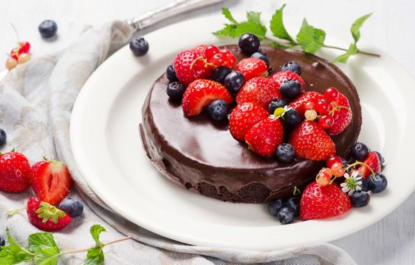 Picture berries, chocolate, cake, cream, dessert, cocolate cakes