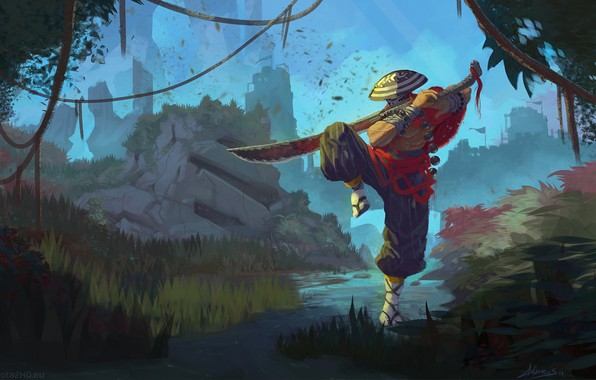 Picture sword, warrior, sword, DotA 2, warrior, juggernaut, dota 2, Juggernaut, yurnero