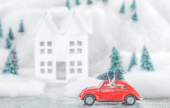 Picture winter, snow, toy, tree, Volkswagen, Christmas, New year, tree, machine