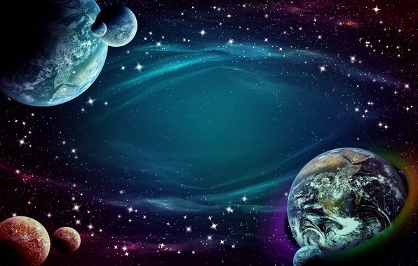 Picture space, stars, planet