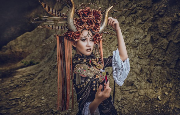 Picture girl, decoration, pose, style, hands, outfit, horns, Asian, headdress