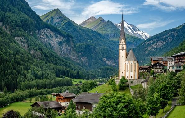 Picture mountains, home, Austria, valley, village, Alps, Church, Austria, Alps, Carinthia, Carinthia, St Vincent Church, Heiligenblut, …