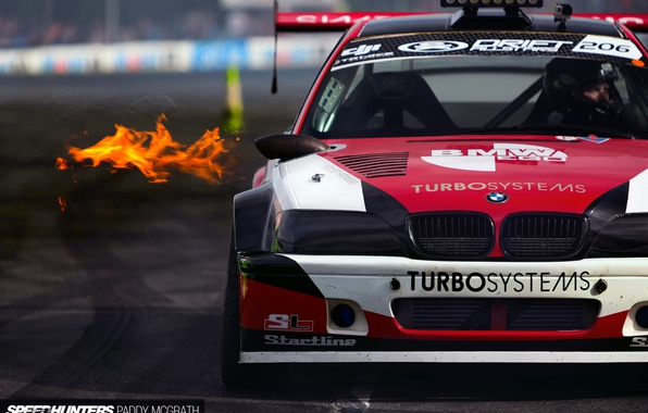 Picture fire, race, sport, BMW, drift, track