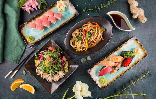 Picture flower, Orange, sushi, salad, rolls, ginger, soy sauce, Noodles