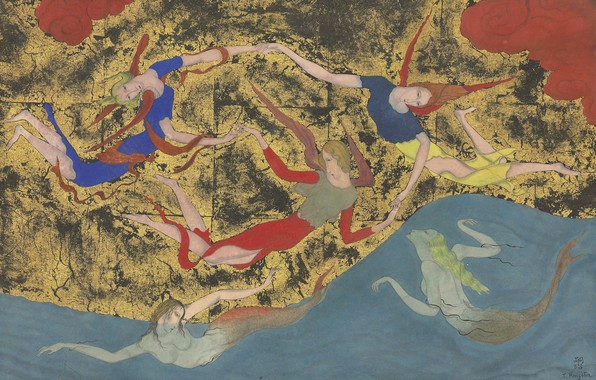 Picture watercolor, 1918, Tsuguharu Foujita, Angels and sirens, pen and black ink on Golden paper