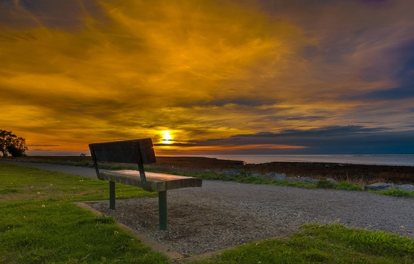 Picture sea, sunset, bench