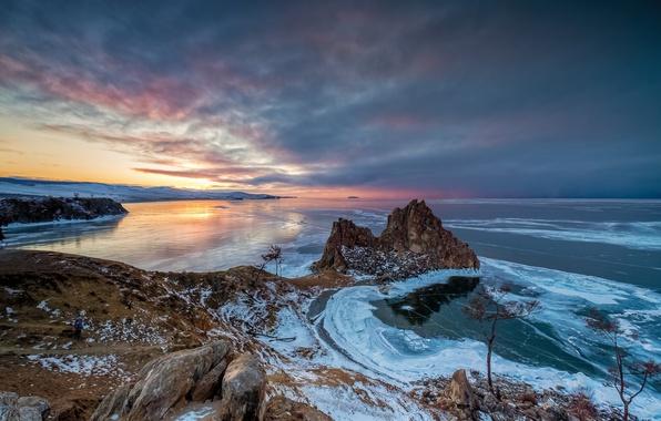 Picture winter, sunset, coast, ice, Siberia, lake Baikal, Olkhon island