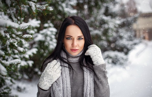 Picture girl, long hair, photo, photographer, blue eyes, winter, snow, tree, model, beauty, bokeh, lips, face, …
