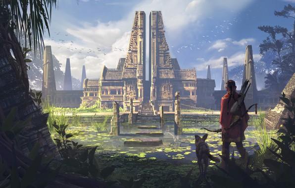 Picture dog, temple, pond, Ancient Temple, aboriginal