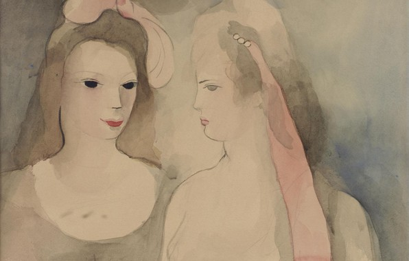 Picture paper, watercolor, mascara, pencil, Modern, Two young women, Marie Laurencin
