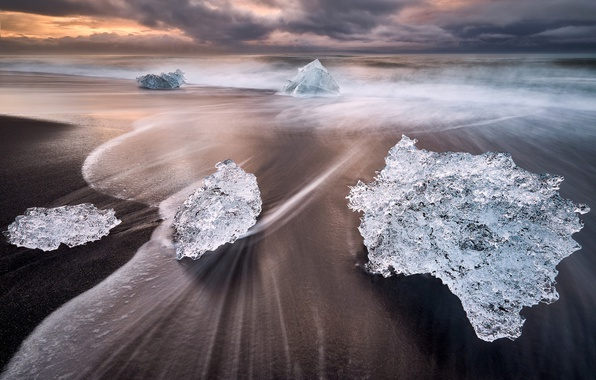 Picture wave, beach, water, nature, ice, excerpt, Iceland