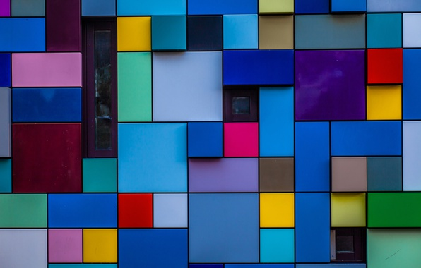 Picture wall, pattern, paint, Windows, blocks, texture, the volume